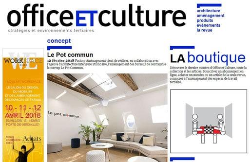 Le projet Le Pot Commun dans Office et Culture